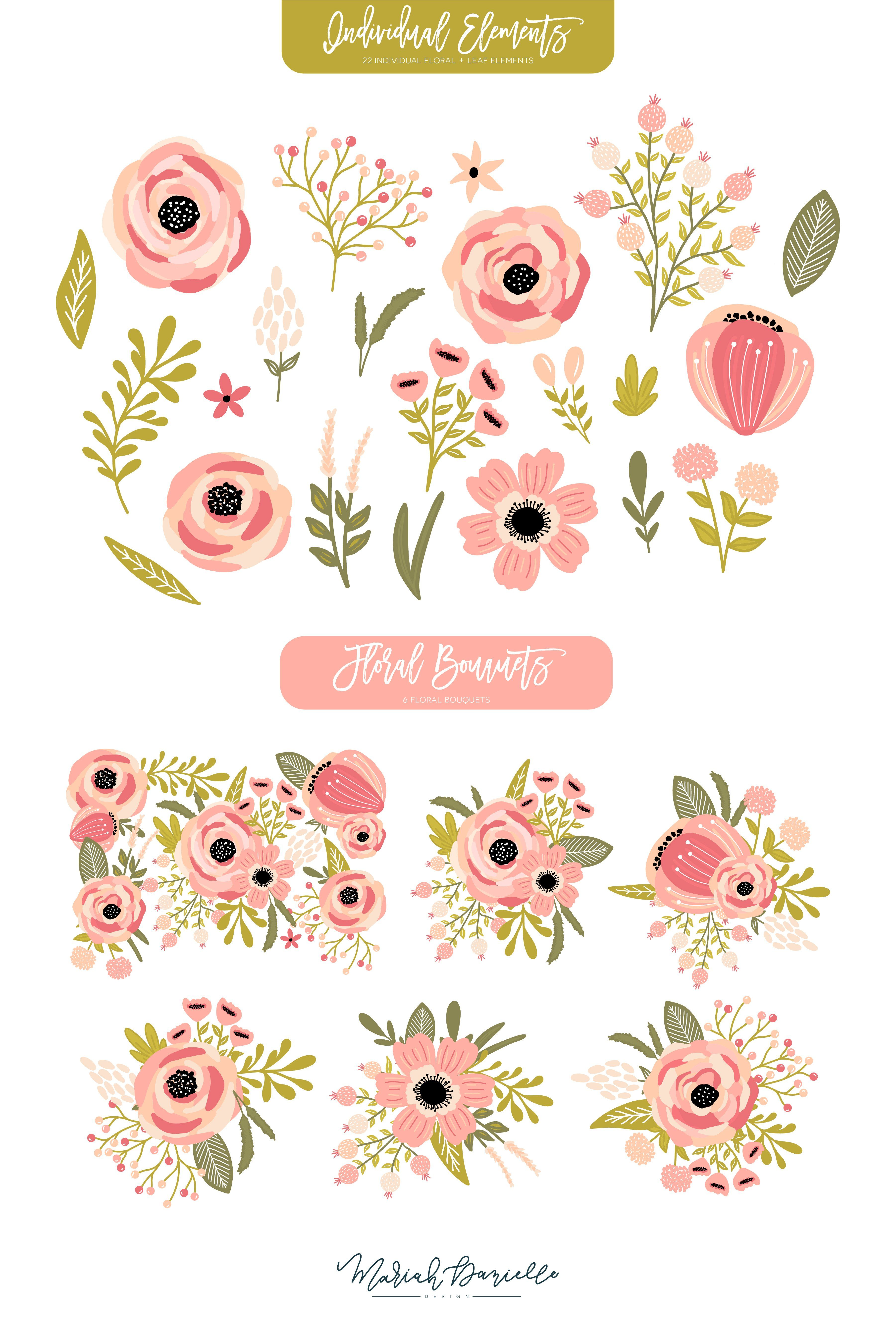 Blooming Tillies Floral Clipart Set Flower clipart, Pink