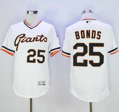 0117d8e4716 Giants  25 Barry Bonds White Flexbase Authentic Collection Cooperstown  Stitched MLB Jersey