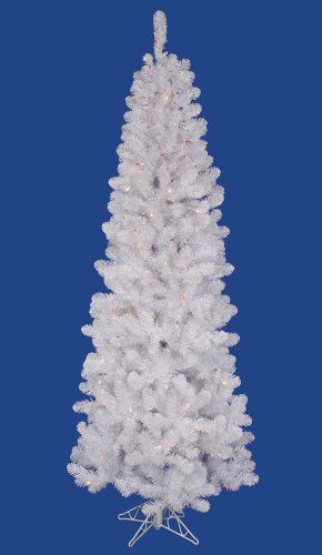75\u2032 Pre-Lit White Salem Pine Pencil Artificial Christmas Tree