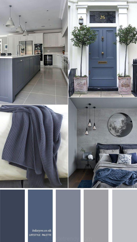 Gris bleu à la maison de la couleur du décor idée  12 Maison de ...