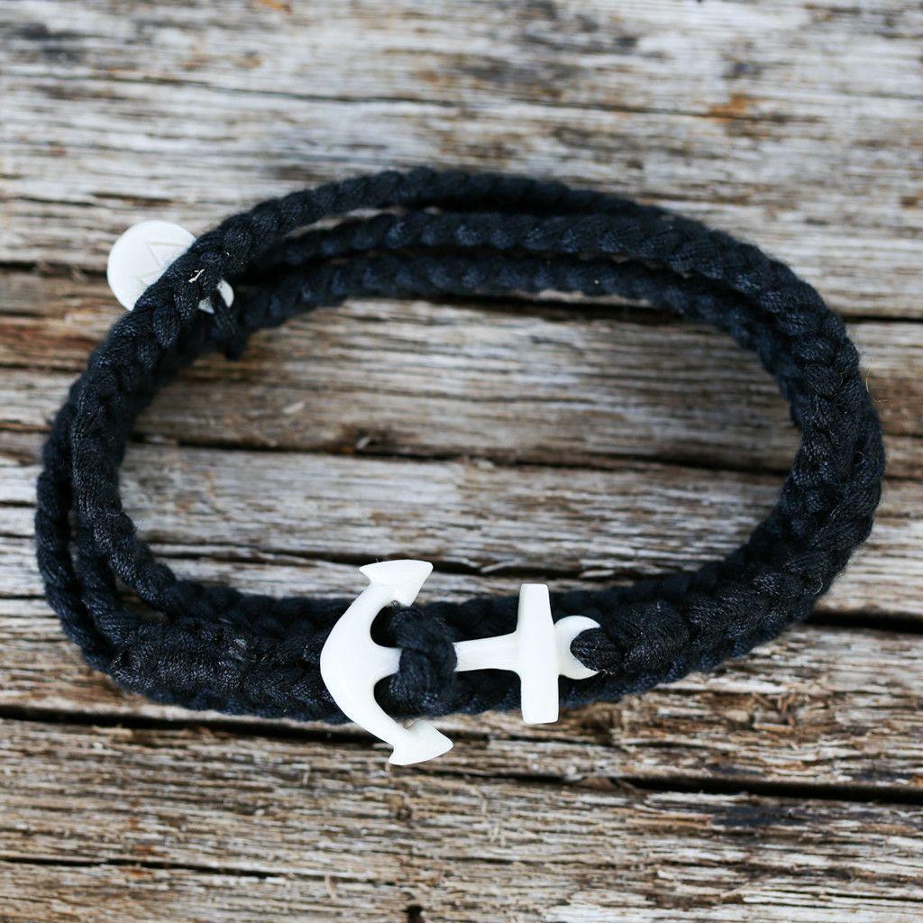 Black Anchor Wrap Bracelet