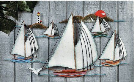 Sailboats 3D Metal Sculpture Wall Hanging Art Home Decor: Furniture & Decor