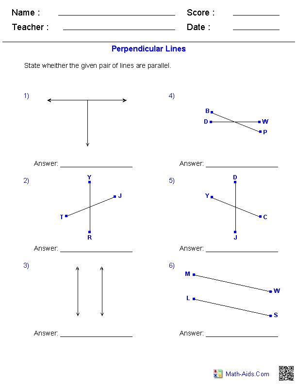 Identifying Perpendicular Lines Worksheets Maths – Slope of Parallel and Perpendicular Lines Worksheet