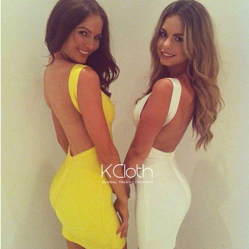 KCLOTH Bandage Dress with Cut Out Back Sharp Yellow D1743 #KCloth