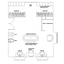 Large ensuite with walk in closet CAD layout dwg | Architectural CAD ...