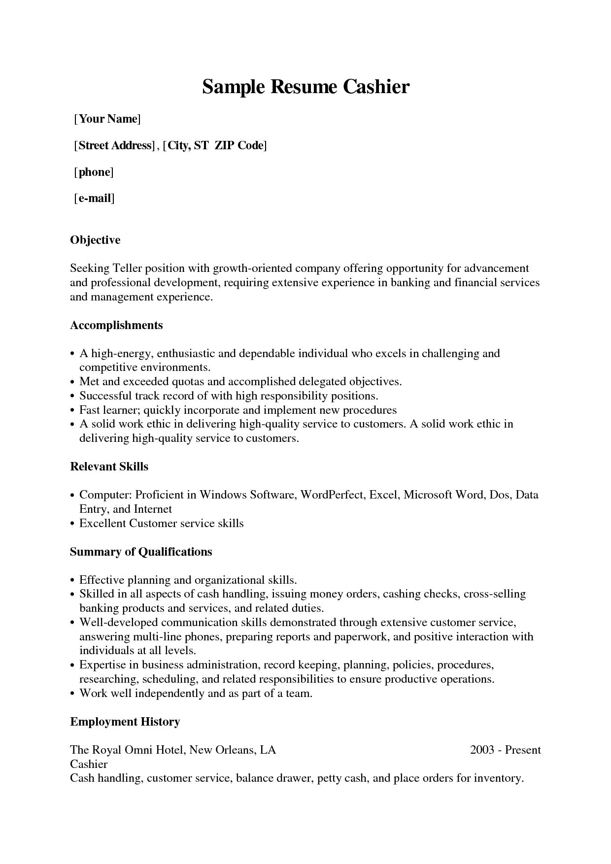 Cashier Position Resume Sample Grocery Store Example Cover Letter
