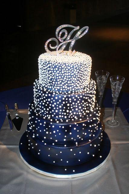 Under The Stars Wedding Cake Idea Cakes Royal Blue Wedding Cakes