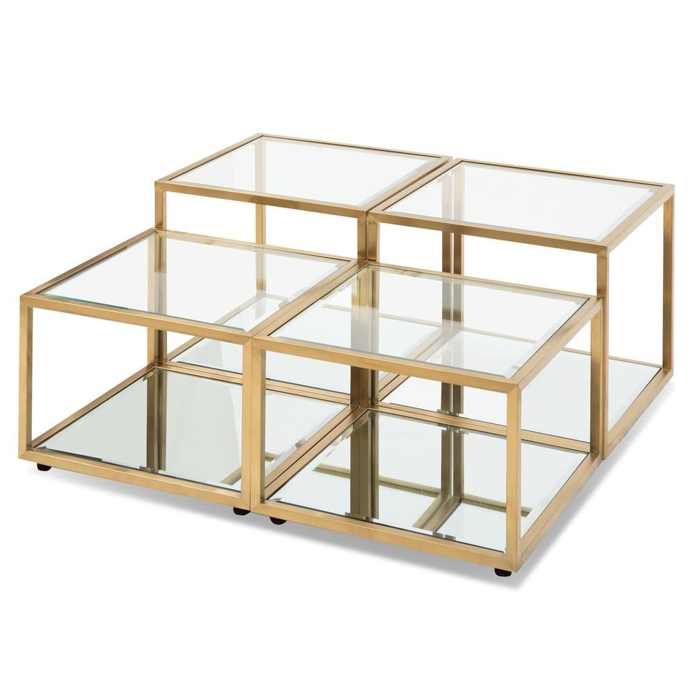 Evans Glass Coffee Table Set 4 Brushed Gold Coffee Table Coffee Table Setting Coffee Table Square [ 1000 x 1000 Pixel ]