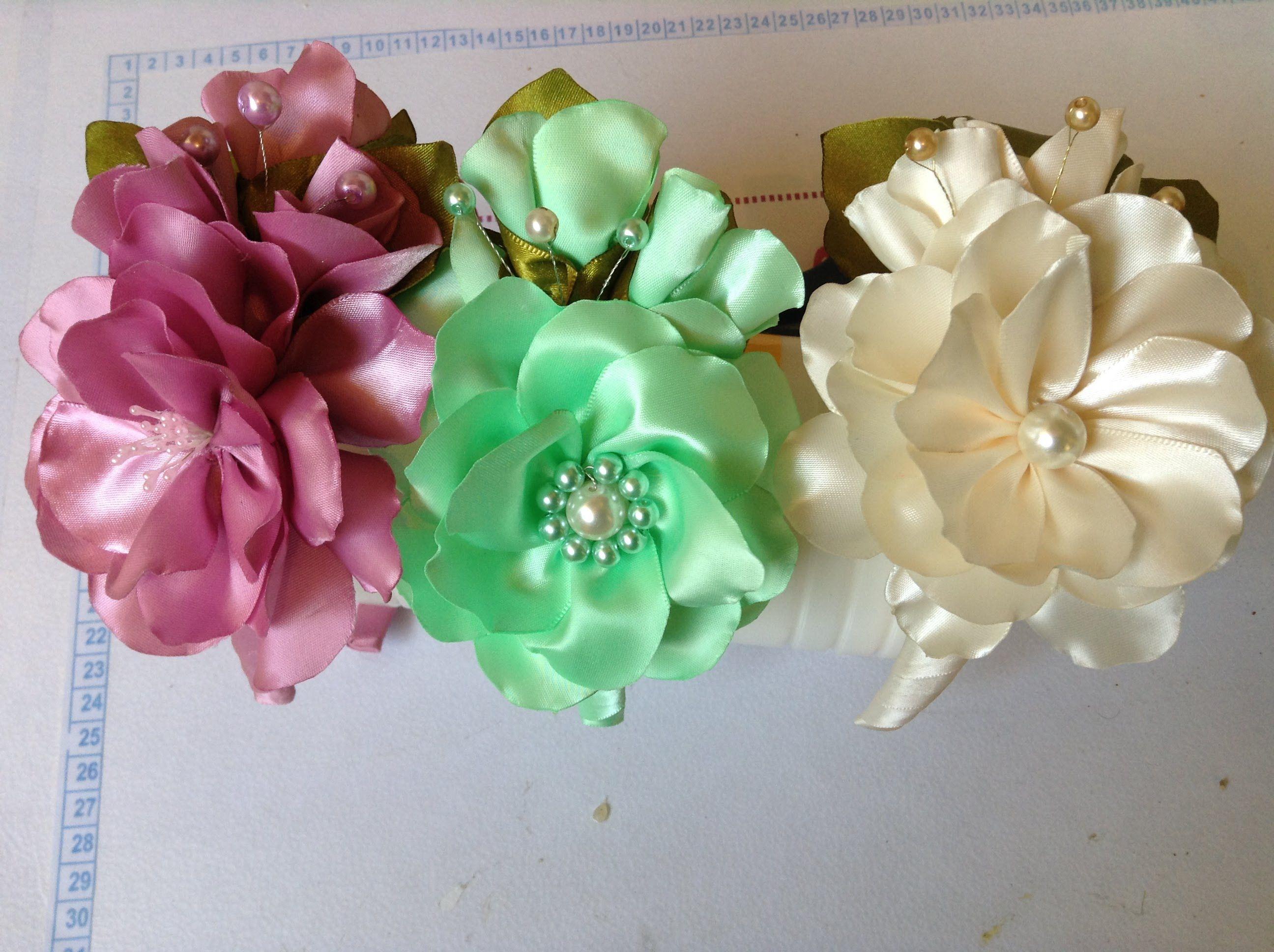 Como hacer una diadema adornada con flores en satin y perlas No. 82 ...