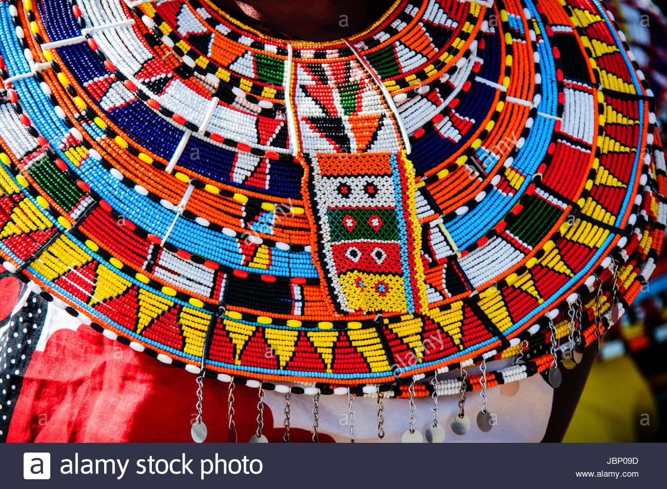 Colorful Traditional Beaded Necklace Worn By Samburu Maasai Women In Northern Kenya East Africa Stock Photo Beaded Beaded Necklace African Beads Necklace