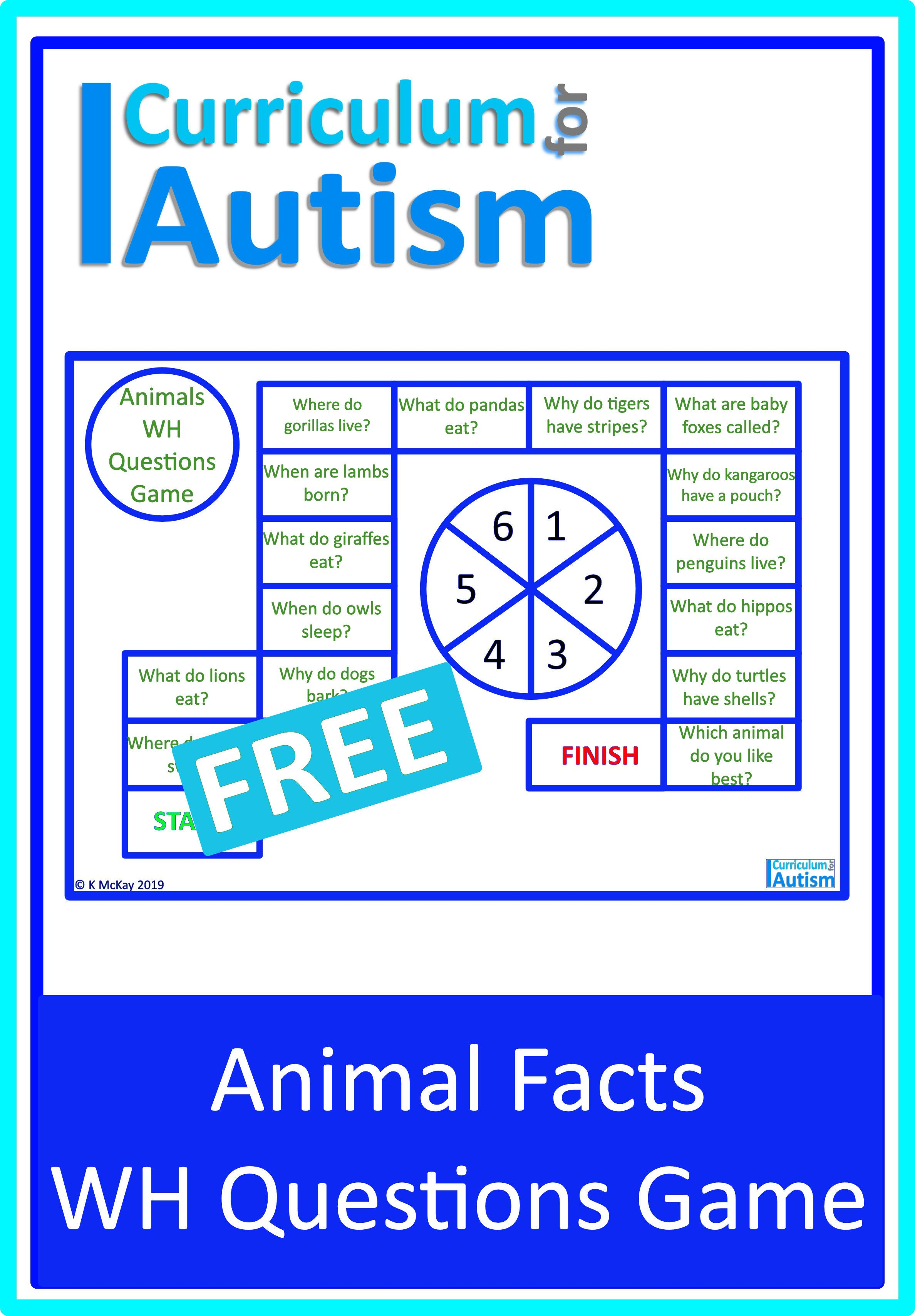 Free Wh Questions Animal Facts Game