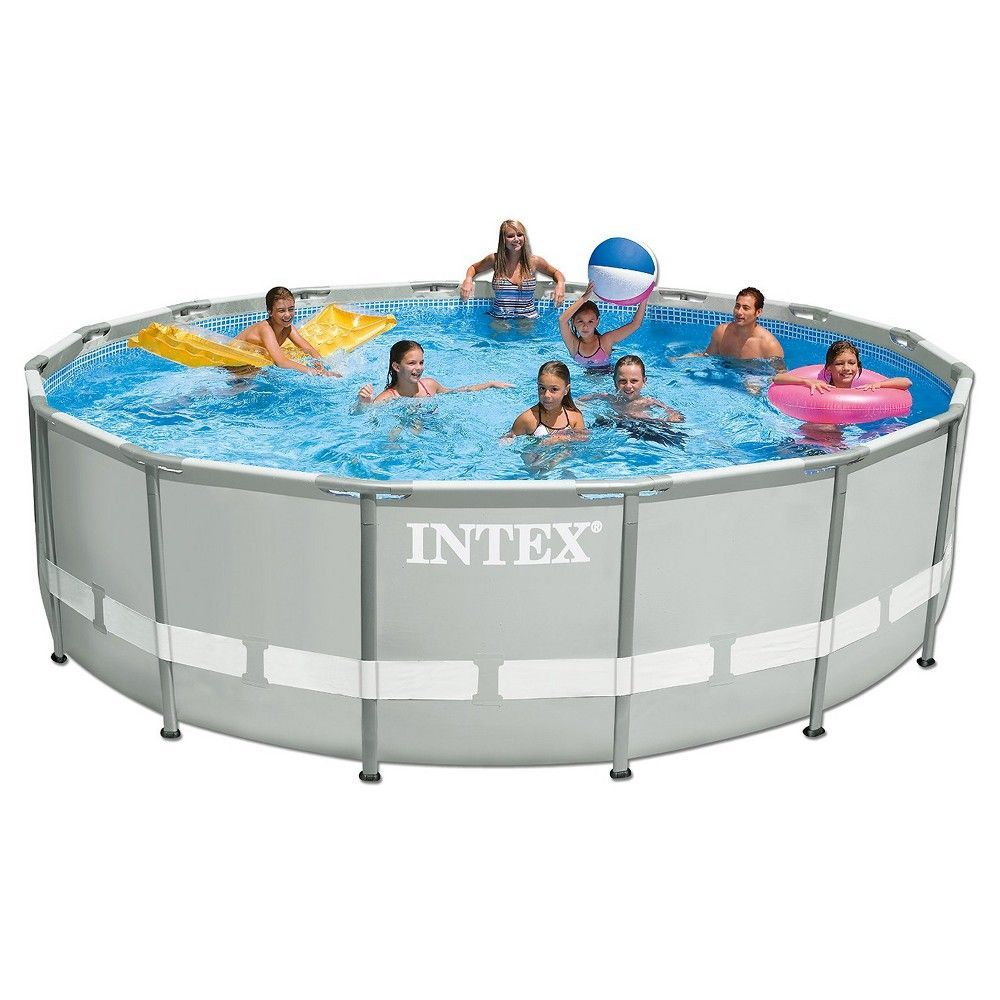 Intex 15 X 48 Ultra Frame Above Ground Pool With Filter Pump Grey Swimming Pools Above Ground Swimming Pools Children Swimming Pool