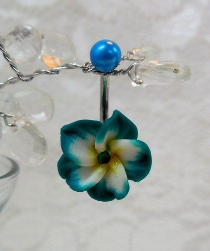 Belly Button Ring With Hawaiian Flower And Swarovski Crystal 14 16ga