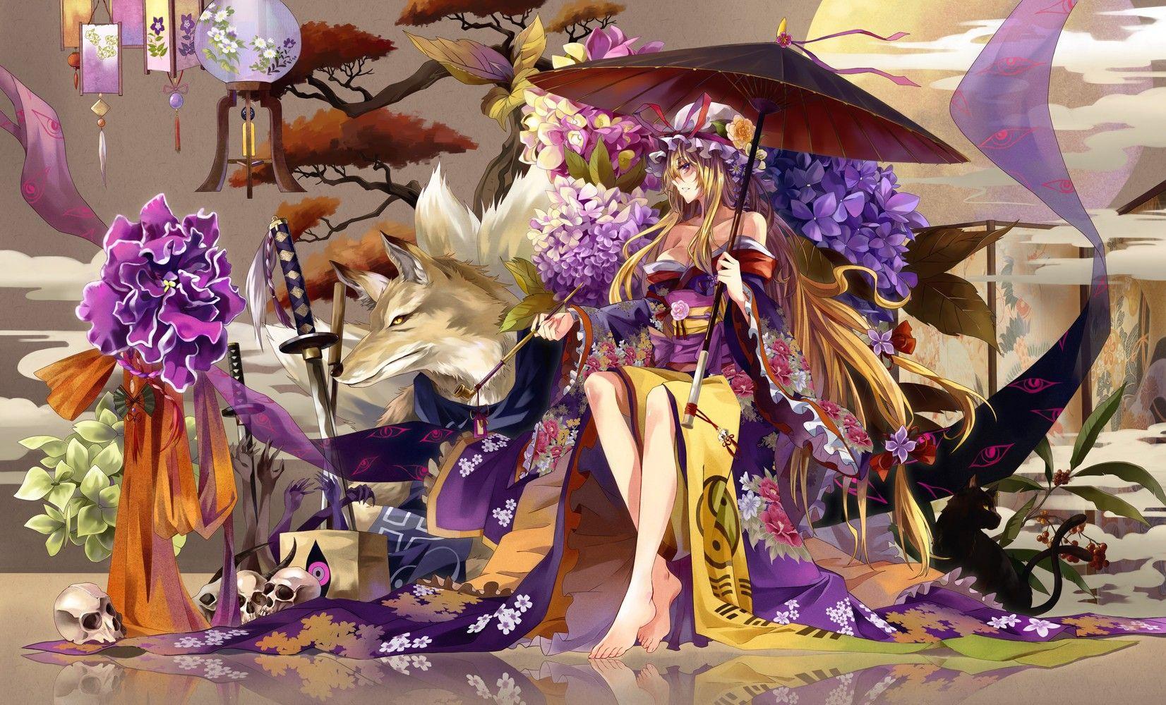 Yakumo Yukari Touhou Wallpaper No 167748 Yakumo Anime Anime Kimono