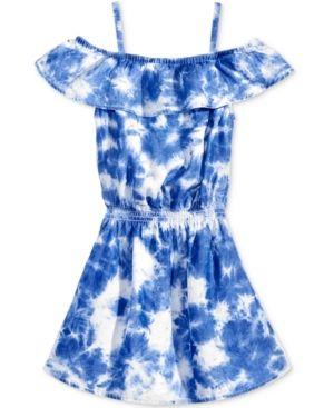 Jessica Simpson Dream Reef Off-The-Shoulder Dress, Big Girls (7-16) - Blue/White XL