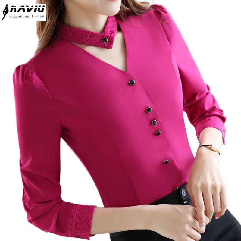 951b32e0cb Barato 2017 Nova magro formal camisa de manga longa mulheres OL outono  Elegant V neck lace Patchwork chiffon blusa escritório senhoras plus size  topos
