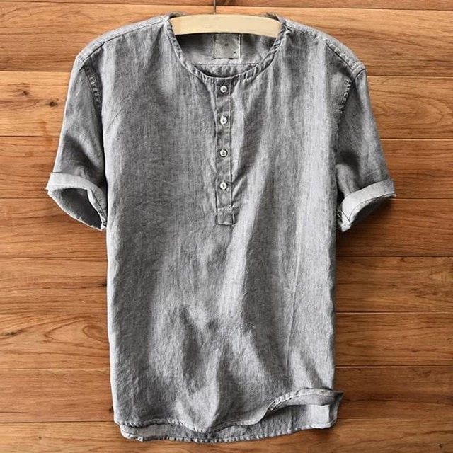 Short Sleeve O Neck for Men T-shirt Blouse Solid Color Tops Casual Button Summer