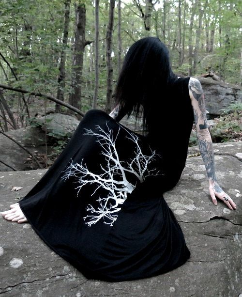Lavinia Black Branches Maxi Dress by HellCouture on Etsy