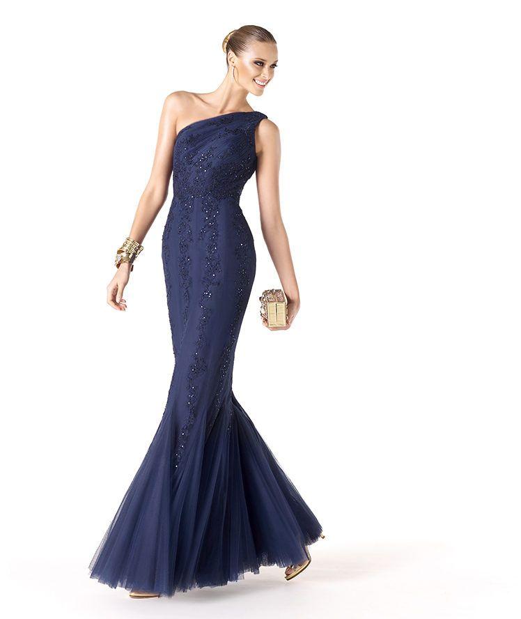 Favori Abito da cerimonia blu notte monospalla mod Ramassa 2014 | Fashion  XC14