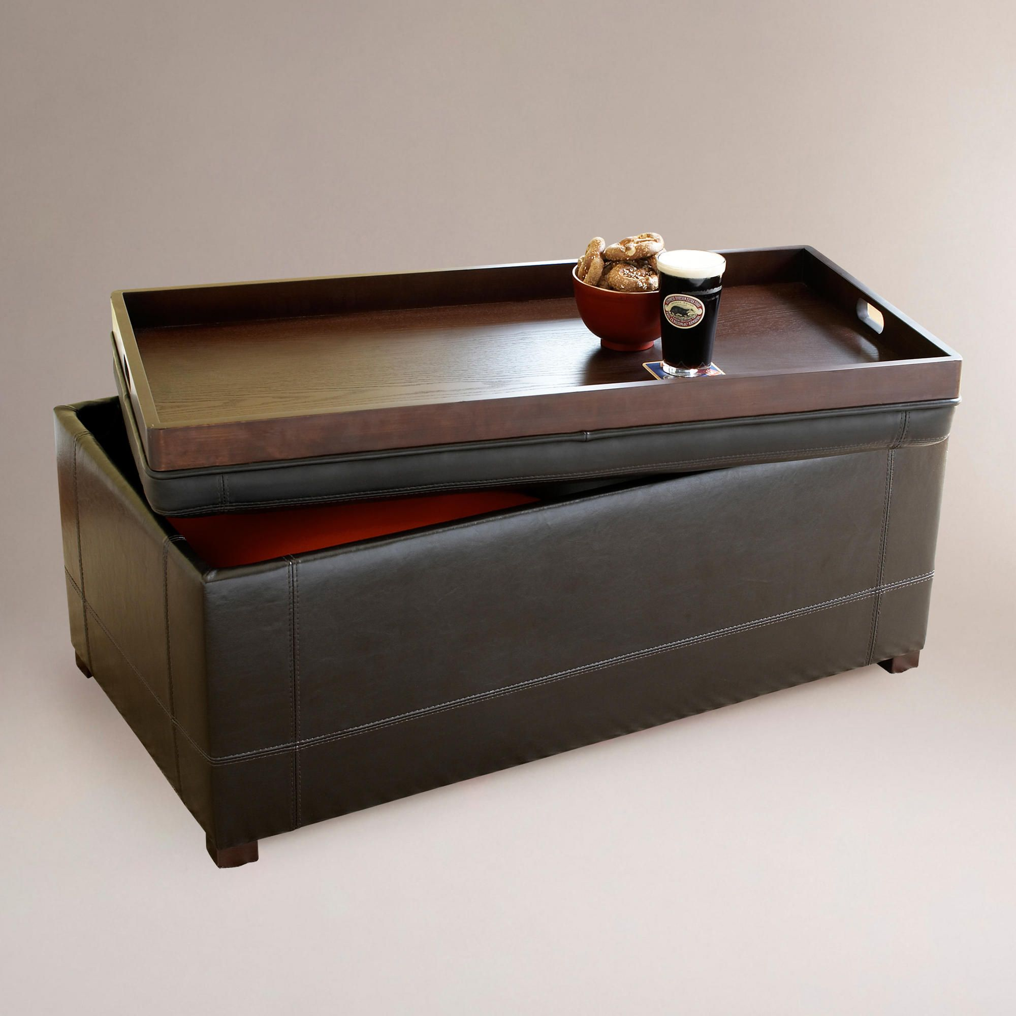 Strange Brown Owen Bi Cast Leather Ottoman World Market Ottoman Cjindustries Chair Design For Home Cjindustriesco