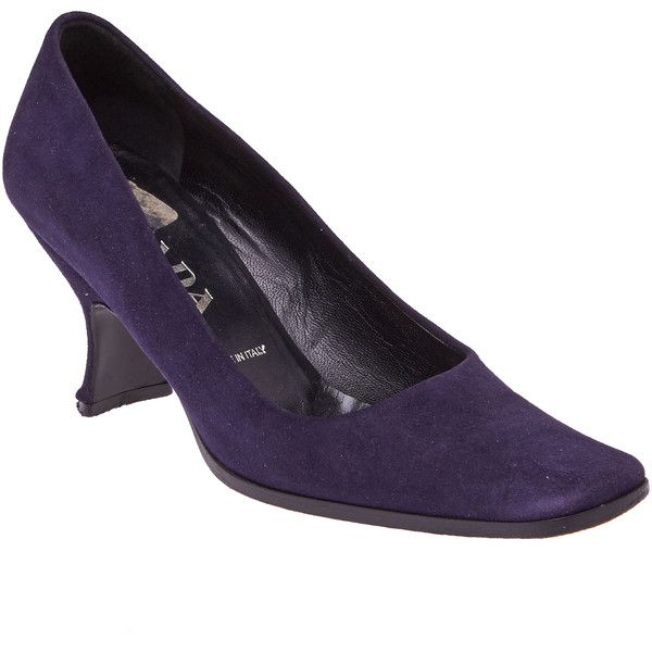 Pre-owned Prada Plum Suede Pumps ($58) ❤ liked on Polyvore