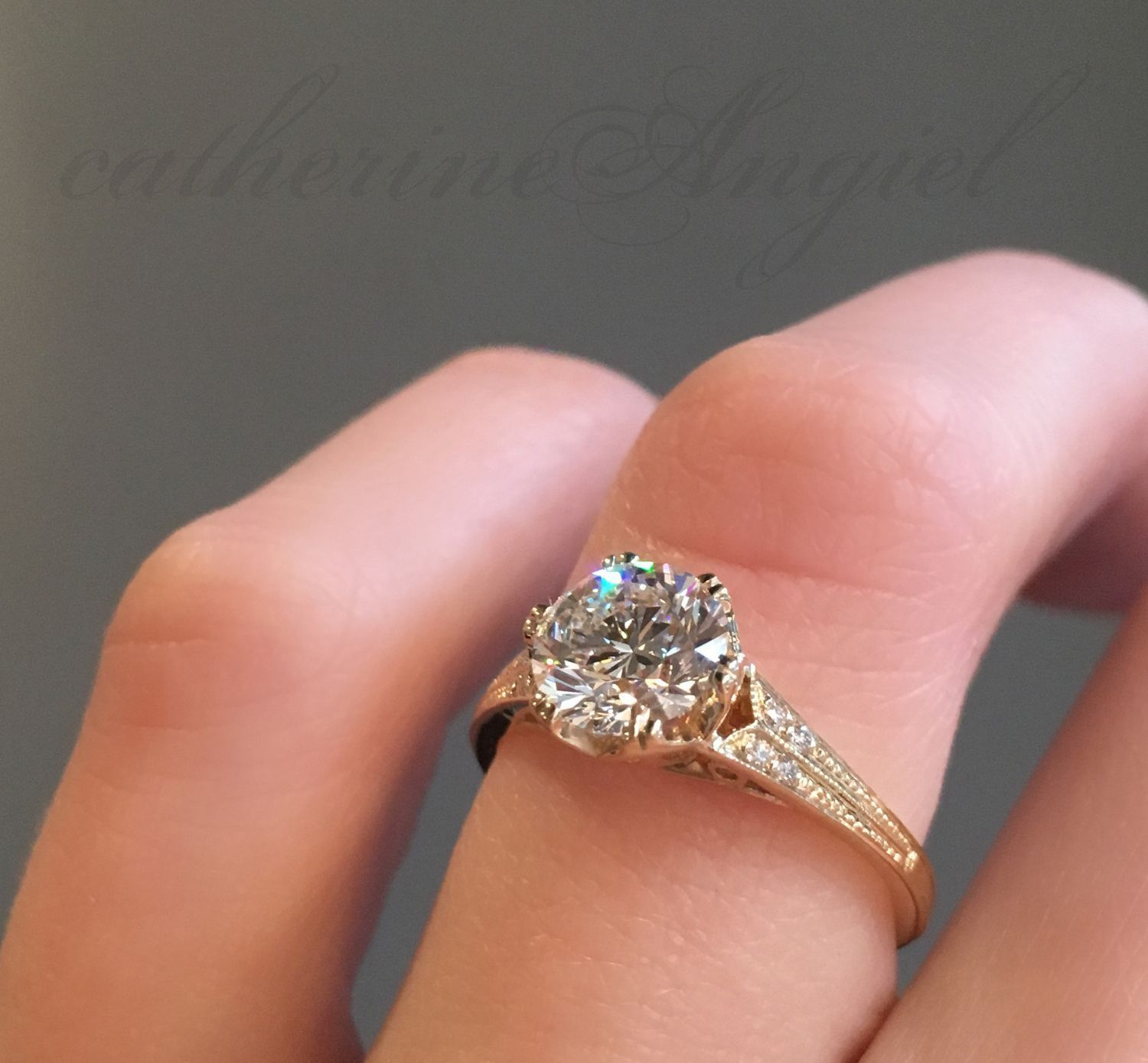 Vintage inspired, yellow gold engagement ring handcrafted by NYC ...