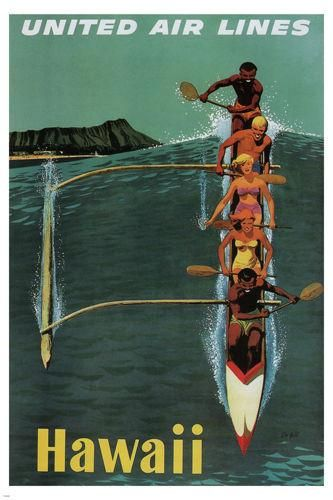 United Air Lines Vintage Travel Poster Hawaii 1950 24x36 Riding