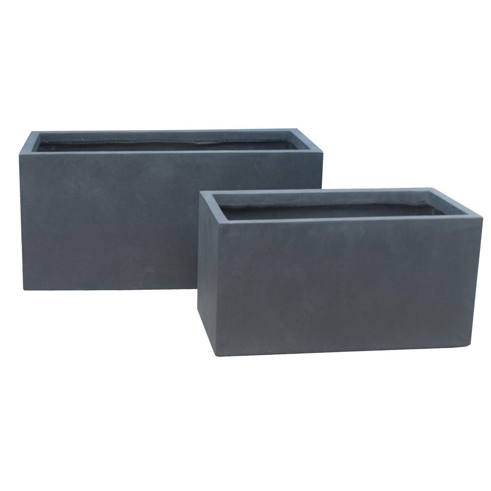 Kante 31 In L Charcoal Lightweight Concrete Modern Long Low Granite Outdoor Planter Set Of 2 Rf0104ab C60121 Outdoor Planters Planters Modern Landscaping