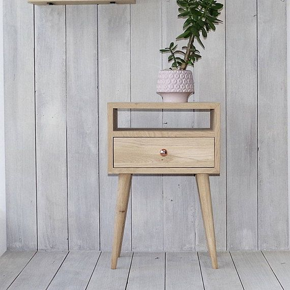 Ready To Ship Solid Oak Bedside Table With Drawer Nightstand Etsy In 2020 Oak Bedside Tables Natural Wood Furniture Bedside Table