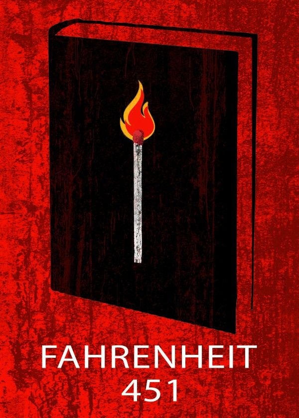 Fahrenheit 451 Poster #book #cover #fahrenheit451 #fire #poster #displate #minimal #emilypigou #gifts #words #modern #geek #nerd #geekgifts #scifigifts  #homedecor #homegifts #bedroom #bookcoverposter #bookposter #minimalposter #minimalmovieposter #minimaldecor #homegifts #bookworm #booklovers #bookloversgifts #bookgifts