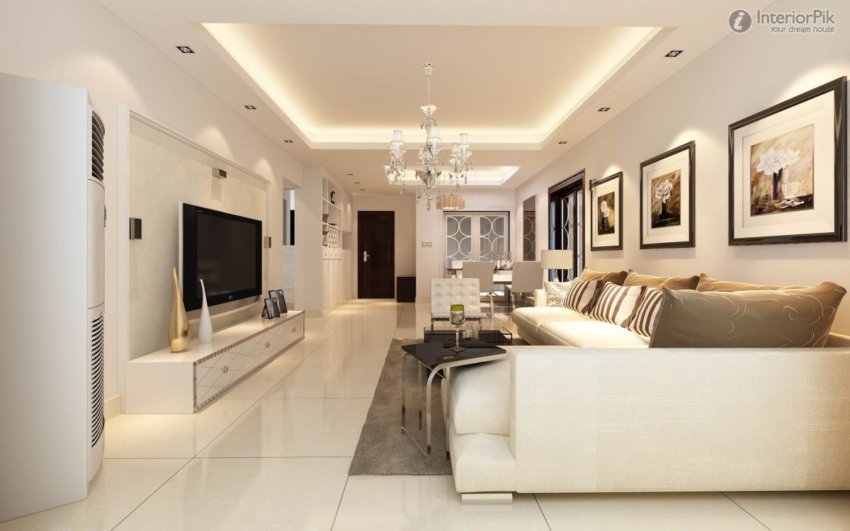 Modern False Ceiling For Living Room Interior With Flat Screen TV Ideas Dream House Ceiling