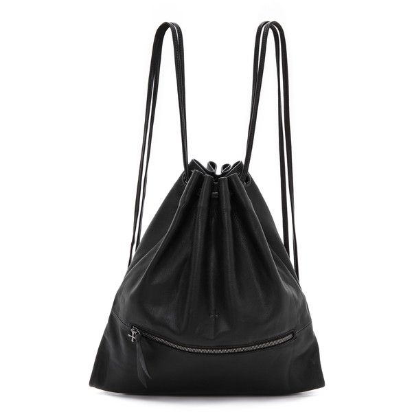 Marie Turnor Accessories Leather Bak-Pak - Black ($495) ❤ liked on Polyvore featuring bags, handbags, shoulder bags, accessories, backpack, genuine leather backpack, black shoulder bag, leather rucksack, black drawstring backpack and black leather purse