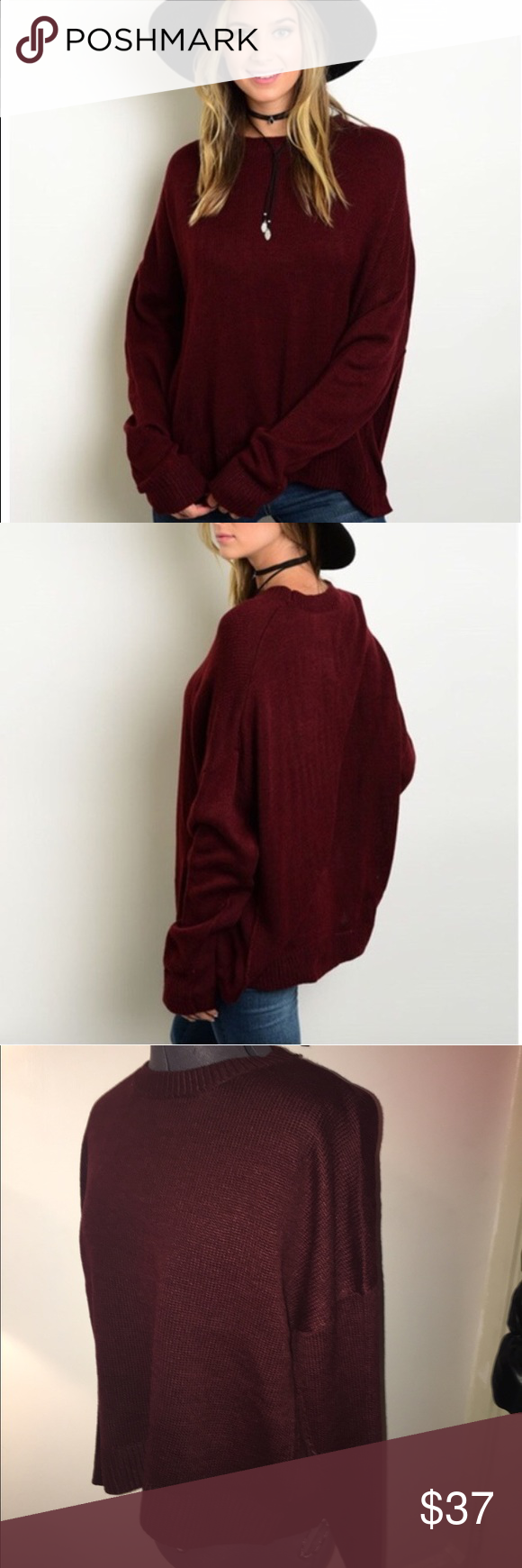NWT Burgundy Oversized Boyfriend Sweater Boutique | Burgundy color ...