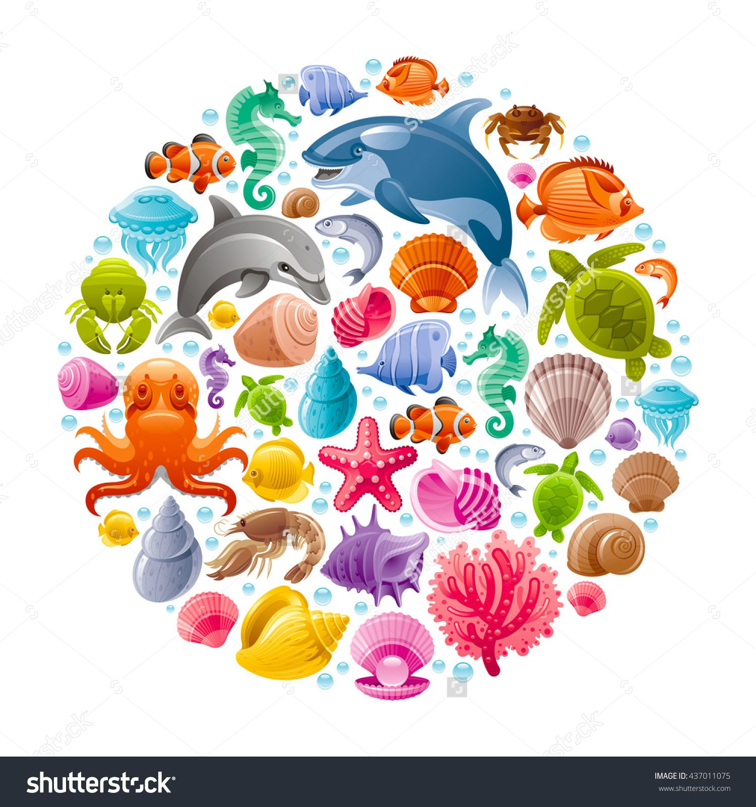 Summer beach scene vector stock vector colourbox - Dolphin Killer Whale Starfish Coral Oyster Pearl Butterfly Fish Tropical Shells Sea Horse Octopus Sea Turtle And More Marine Icons Stock Vector