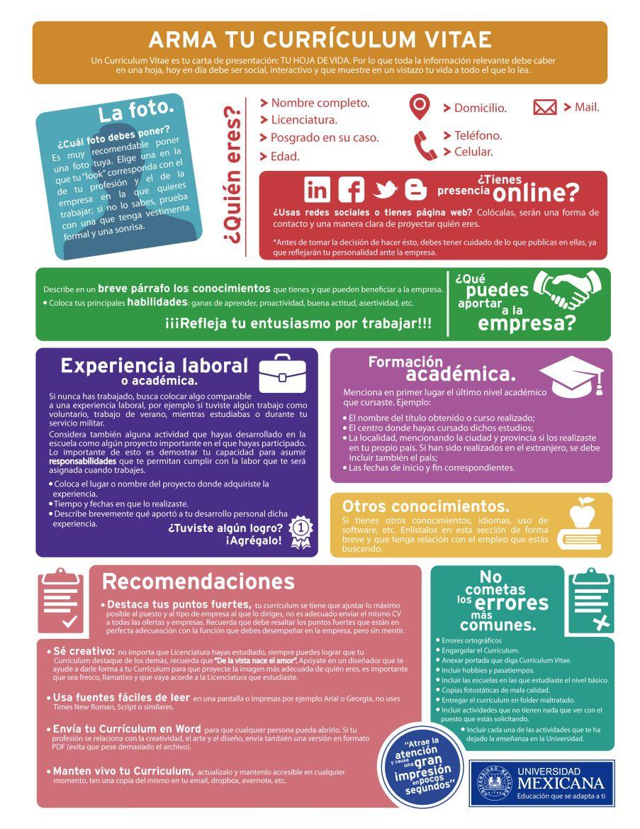 Cómo armar tu Curriculum Vitae #infografia #infographic #empleo ...