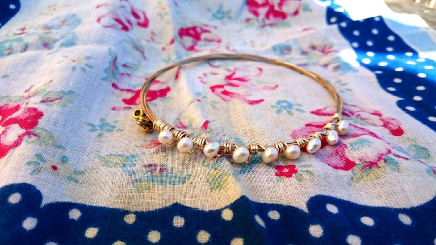 guitar string bangle, gold bangle, silver bangle, bronze bangle, pearl bangle, music gift, sentimental gift, repurposed jewelry, wedding by RisingDawnBoutique on Etsy