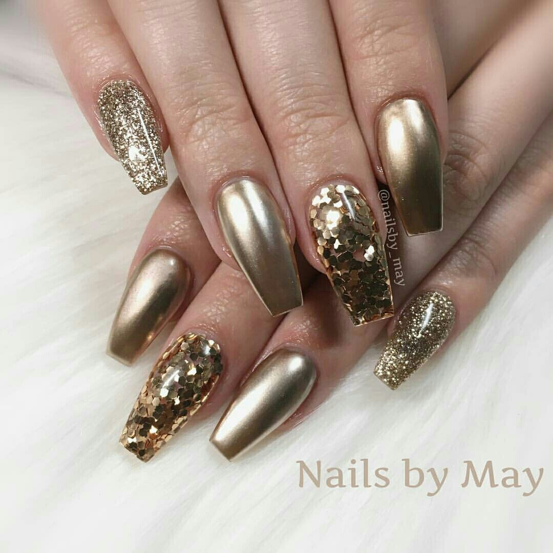 Gold gel nails with glitter | Gold gel nails, Gold and Hair and beauty