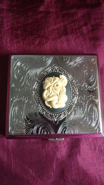 Venom  - Skeletal Lady & Snake Gothic Stainless Steel cigarette case / wallet / card holder by MadeAfterDark on Etsy