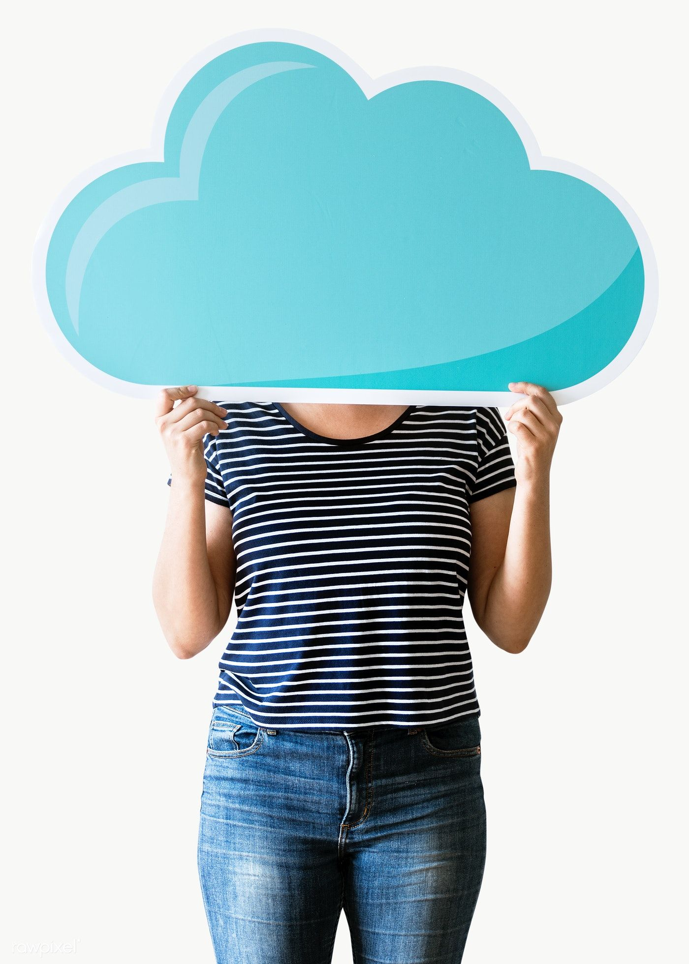 Download Premium Png Of Woman Holding A Computing Cloud Transparent Png