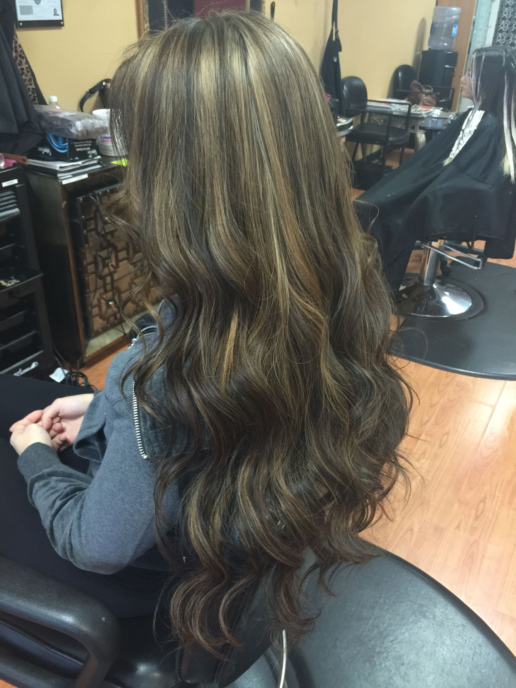 Highlights On Black Hair Toned With A Beige Toner