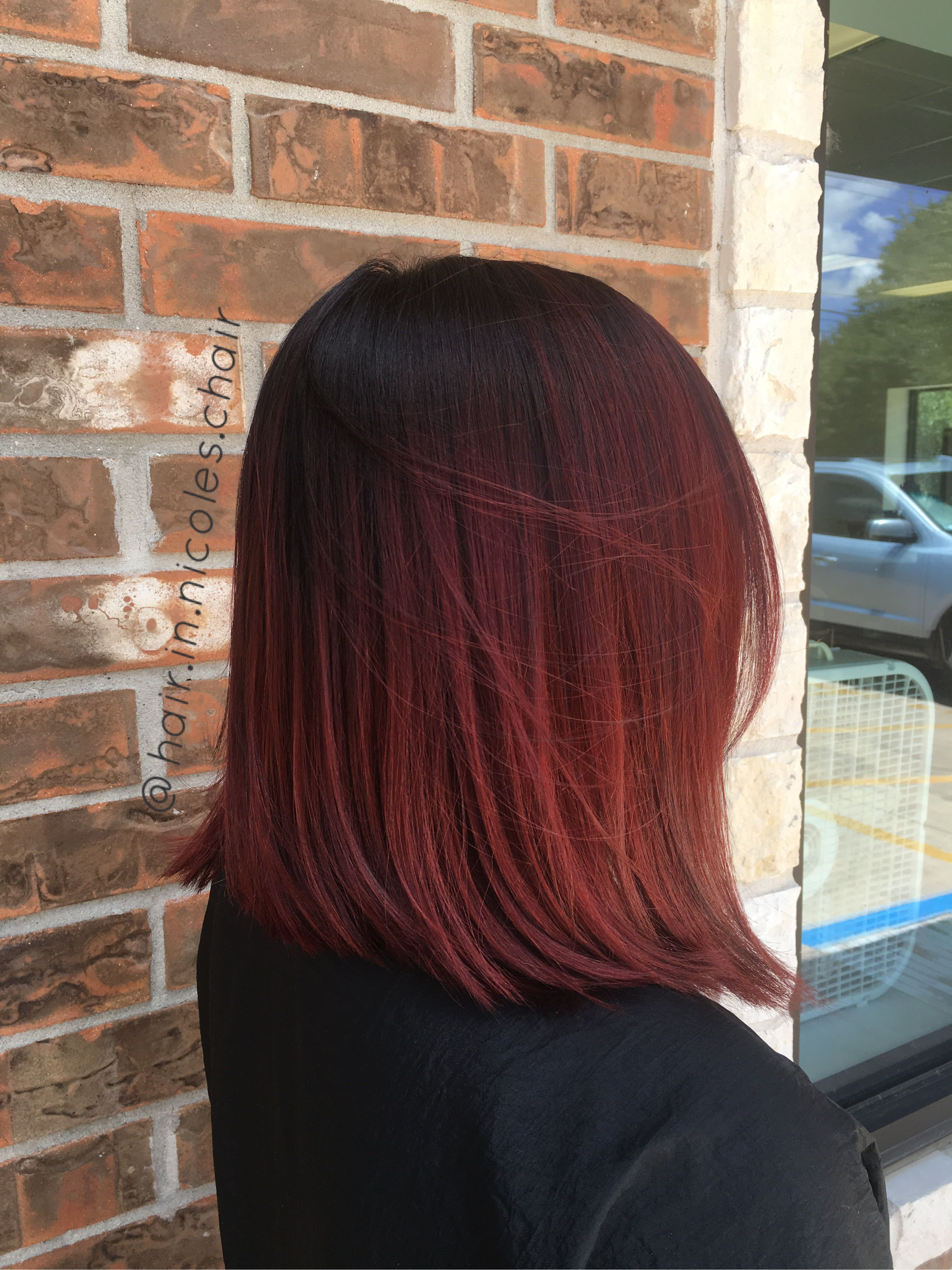 Dark Shadow Root And Bright Red Hair Austinhair At A Carter T Lund Salon Red Ombre Hair Dark Roots Hair Red Hair Color
