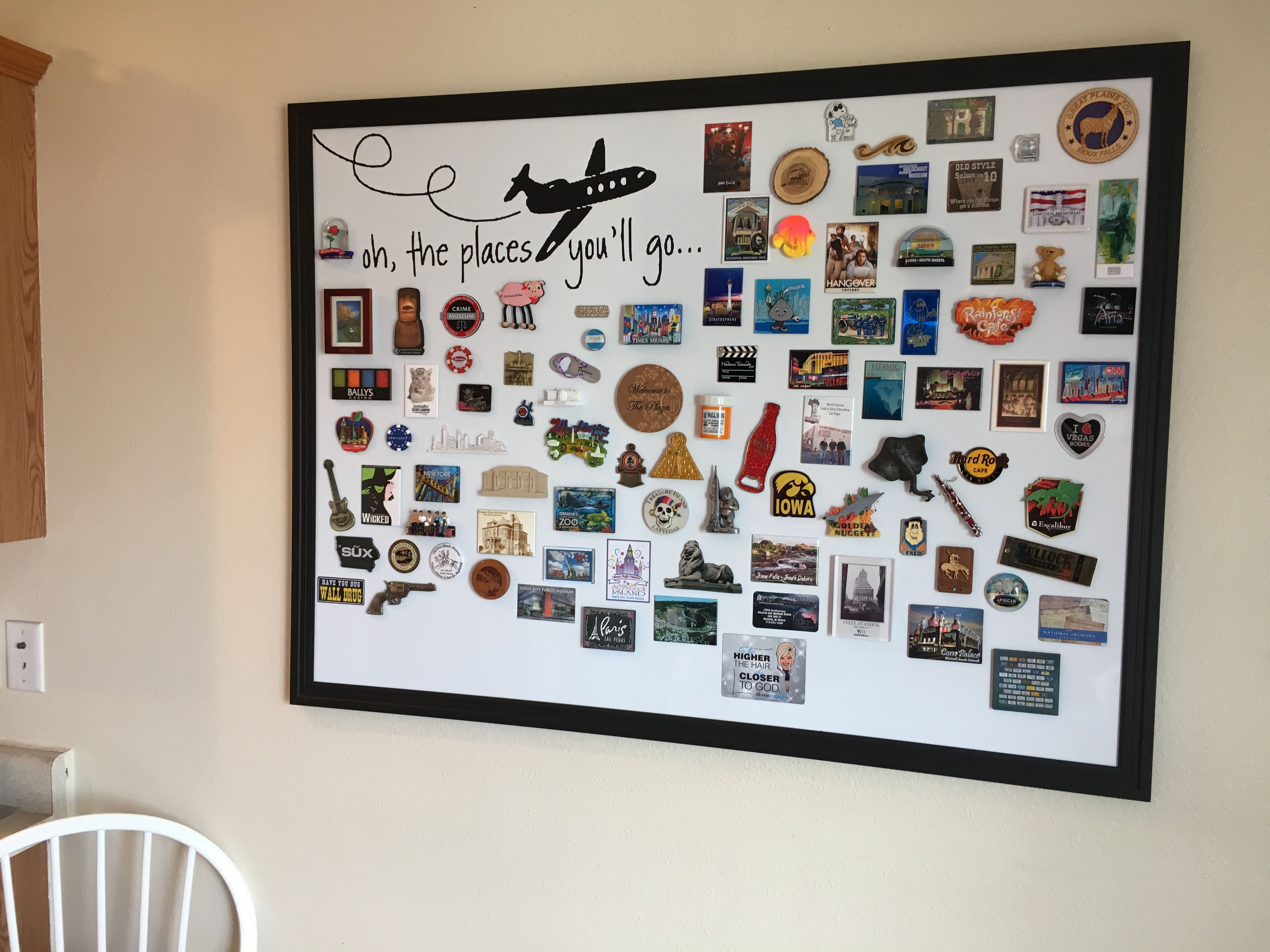 Souvenir Magnet Board I Bought Vinyl Lettering Off Of Ebay And An Oversized Dry Erase Magnetic Board From Hobb Travel Wall Decor Diy Magnet Board Travel Decor