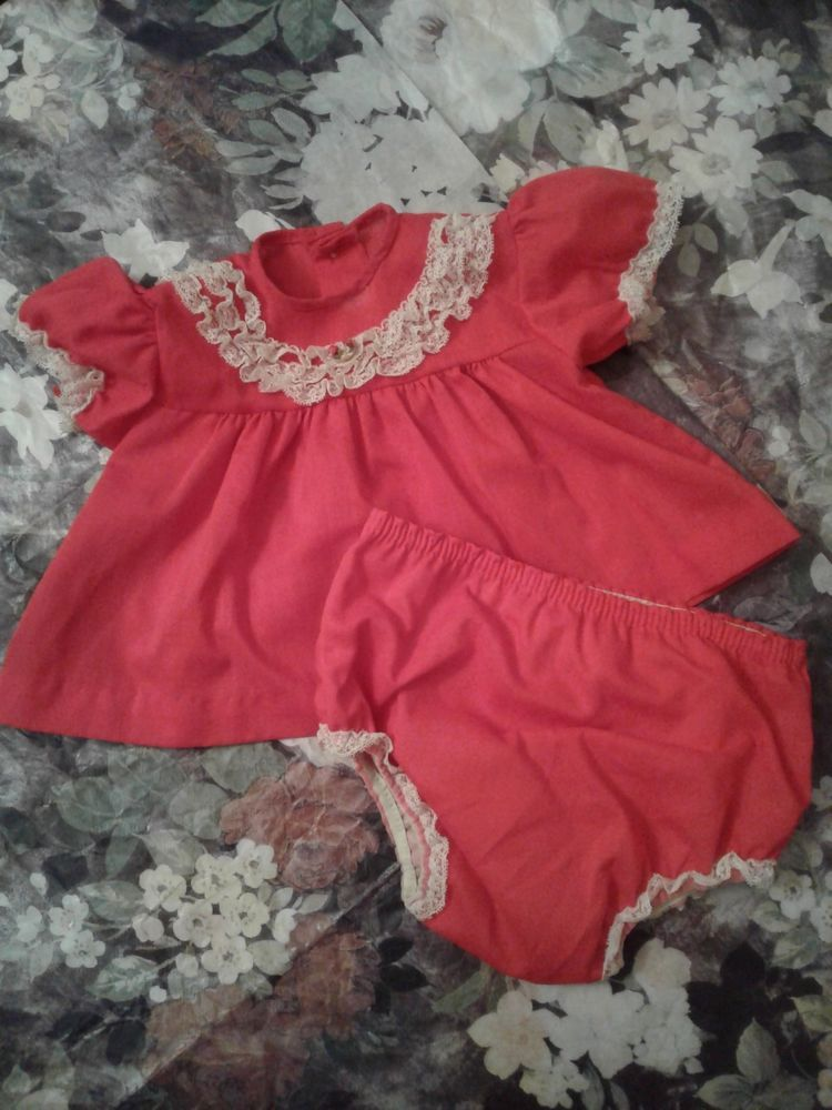 Vintage Red Infant Baby Dress Chiristmas Lacey Plastic Panties