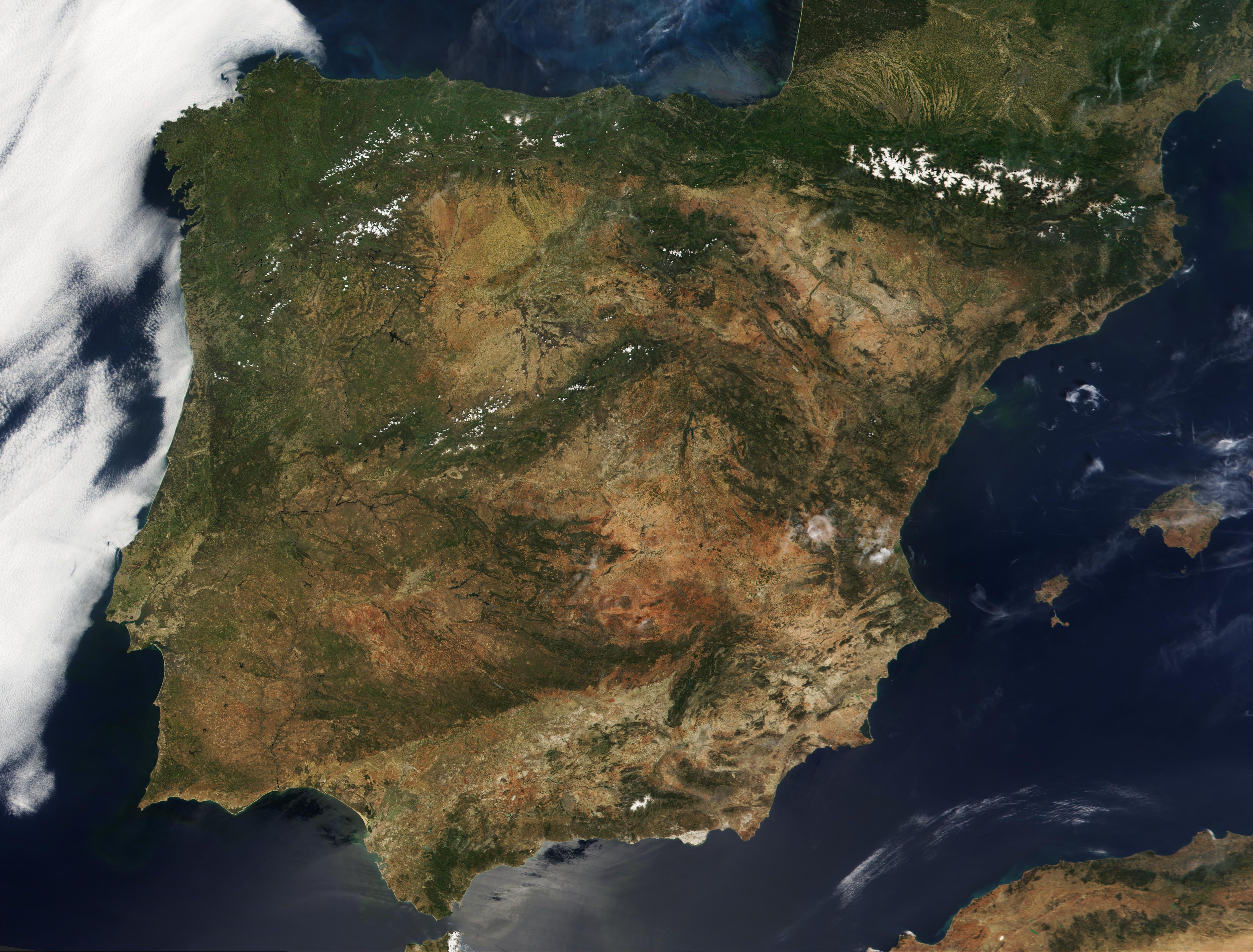 España Desde El Espacio La Tierra Pinterest Images Photos - Portugal map satellite