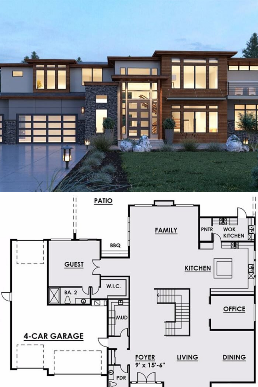 5 Bedroom Two Story Contemporary Style Home Floor Plan In 2020 Modern House Floor Plans Beach House Floor Plans Big Modern Houses