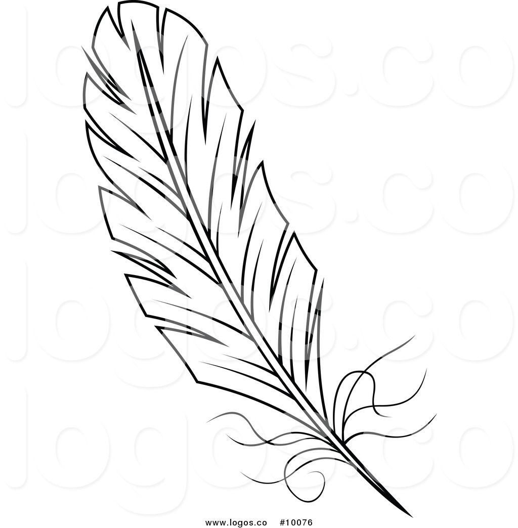 Royalty Free Vector Of A Black And White Feather Logo