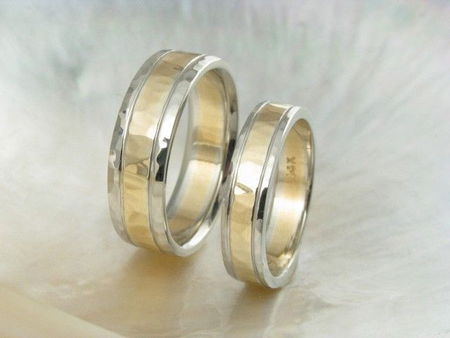 Unique Hammered Wedding Ring Set 14k Gold Duo Tone Two Bands