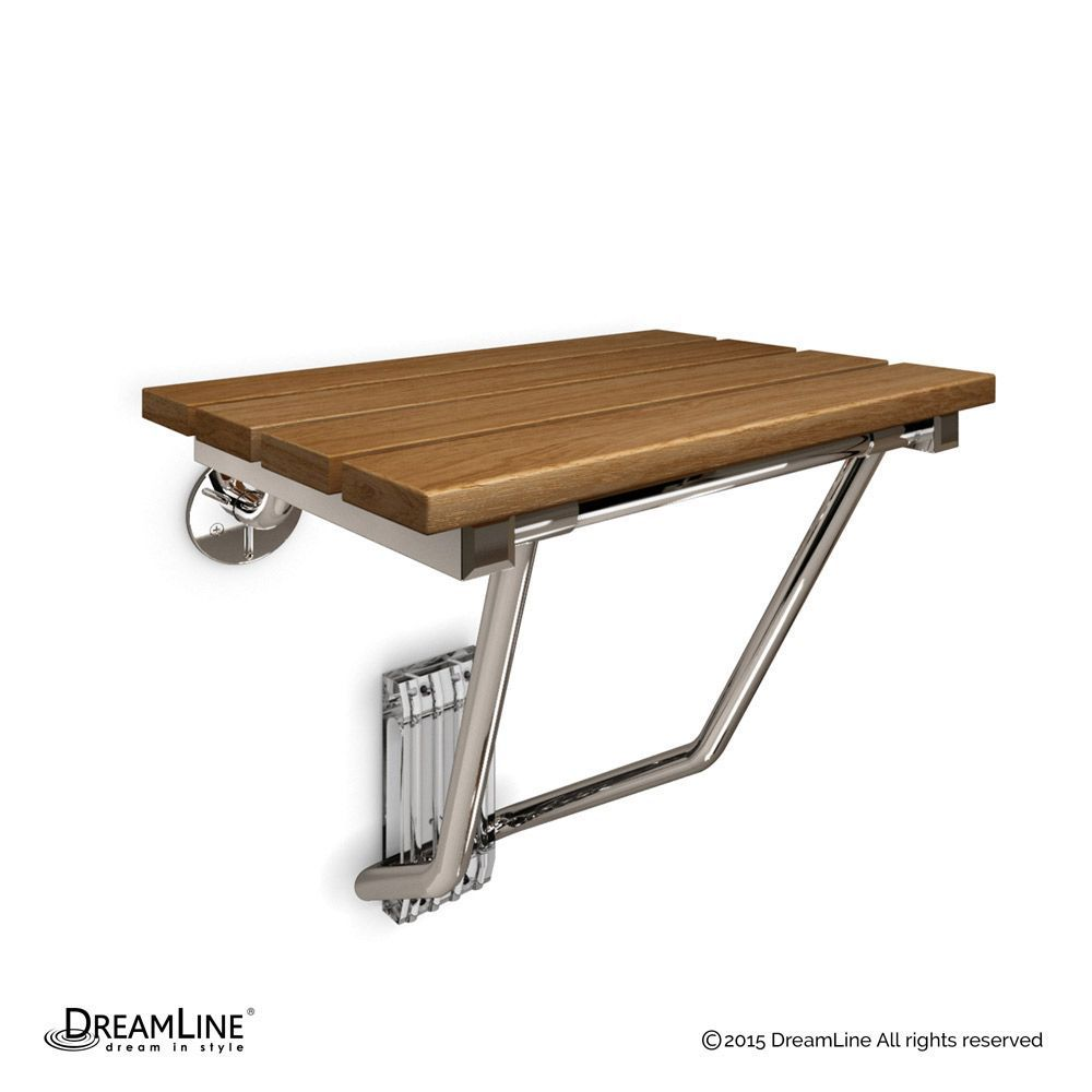 15 Inch X 12 Inch Natural Teak Wood Folding Shower Seat In Chrome