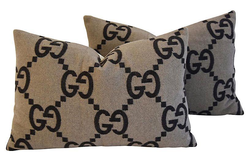 Gucci Cashmere Velvet Pillows Pair Velvet Pillows Decorative