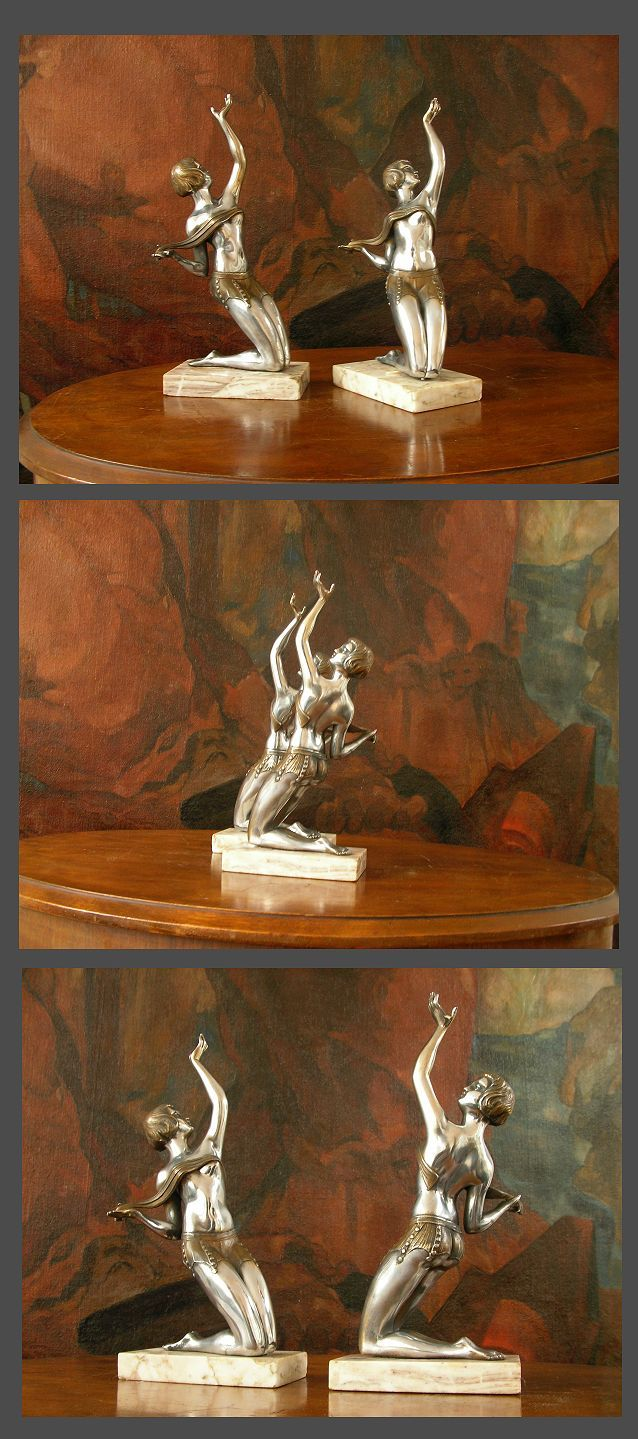 """1930 art deco book ends pair with 2 metal women.  excellent condition.    Marble basis on one of the book ends have been restored.  12"""" high.  Ref - 6054"""